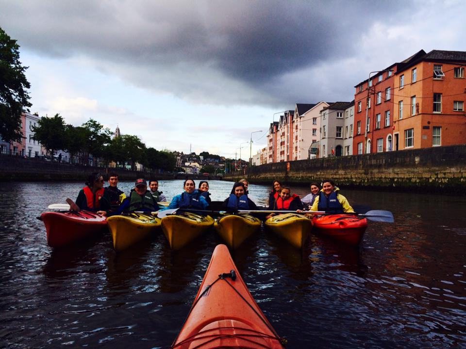 The group rafting while kayaking down the River Lee.  Photo Credit to Barry.