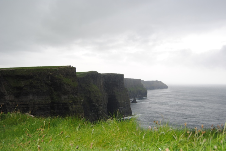 The Cliffs of Moher through the rain and the fog.