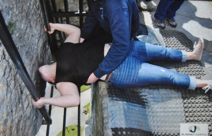 The photo I bought of me kissing the Blarney Stone.