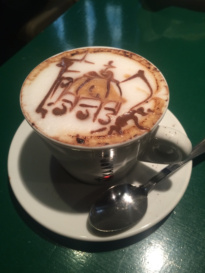 Cappuccino from the News Cafe with a frothy drawing of the Duomo.