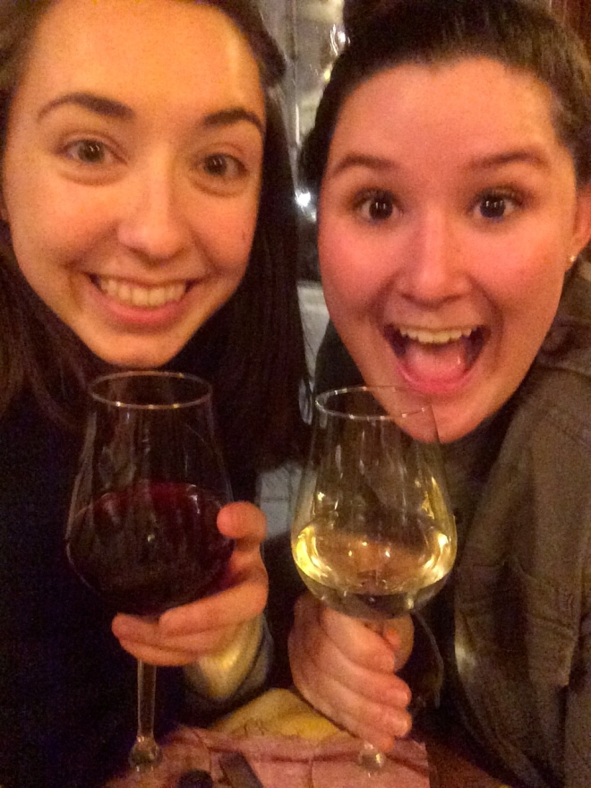 Celebrating Melissa's arrival in Firenze the Italian way--with wine.