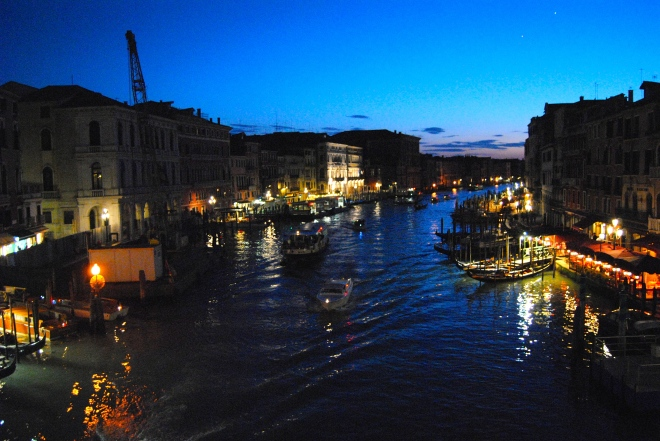 View from the Rialto Bridge at night.