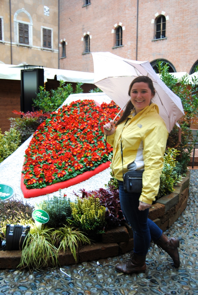 One of the main Piazzas that was decorated with a flower heart for the festival.