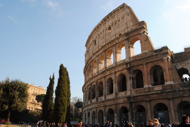 View from the outside of the Colosseum.