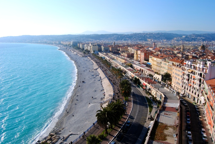 View of the ocean and promenade.
