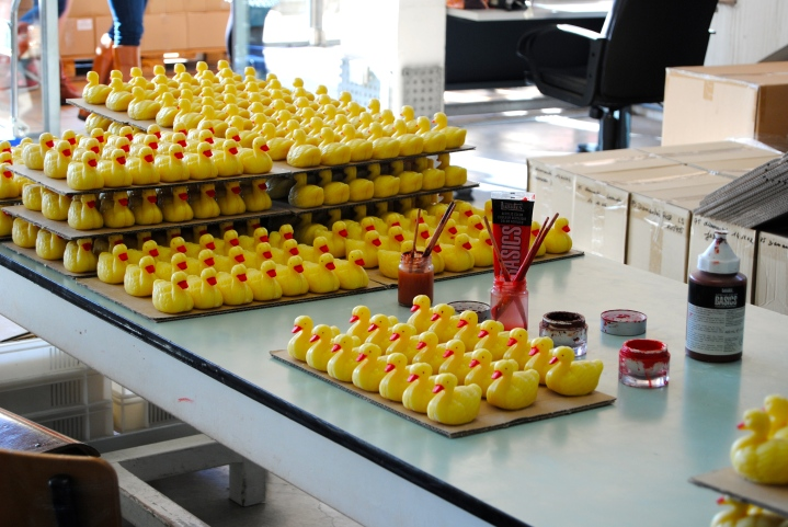The handmade and hand painted duck soaps.