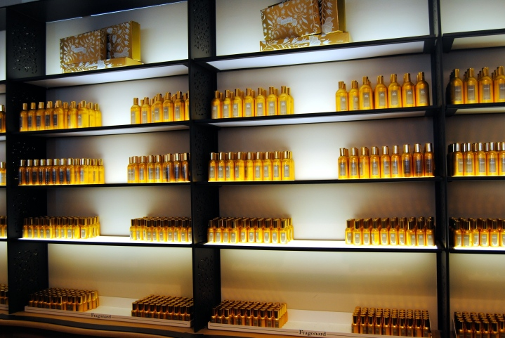 Wall of perfume in the Fragonard store.