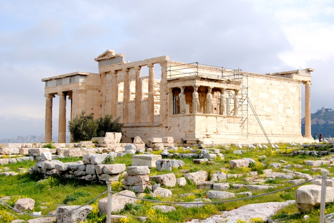 The Erechtheum temple.