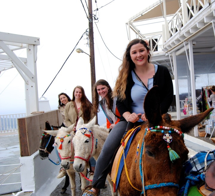 Me, Alison, Christine, and Mel on our donkeys.