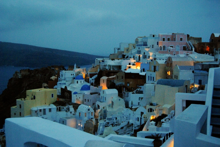 Oia at nighttime.