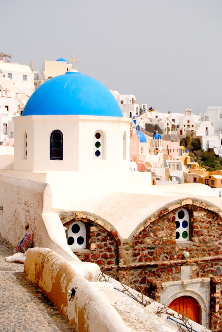 The blue domes of Santorini.