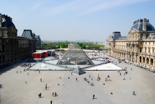 The view of the entrance to the Louvre from the inside of the museum.