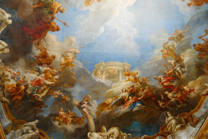 The painting on the ceiling of Versailles.