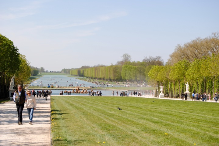 View of the gardens from the pathway leading up to Versailles.