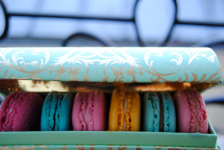 Our beautiful box of Laduree macaroons.
