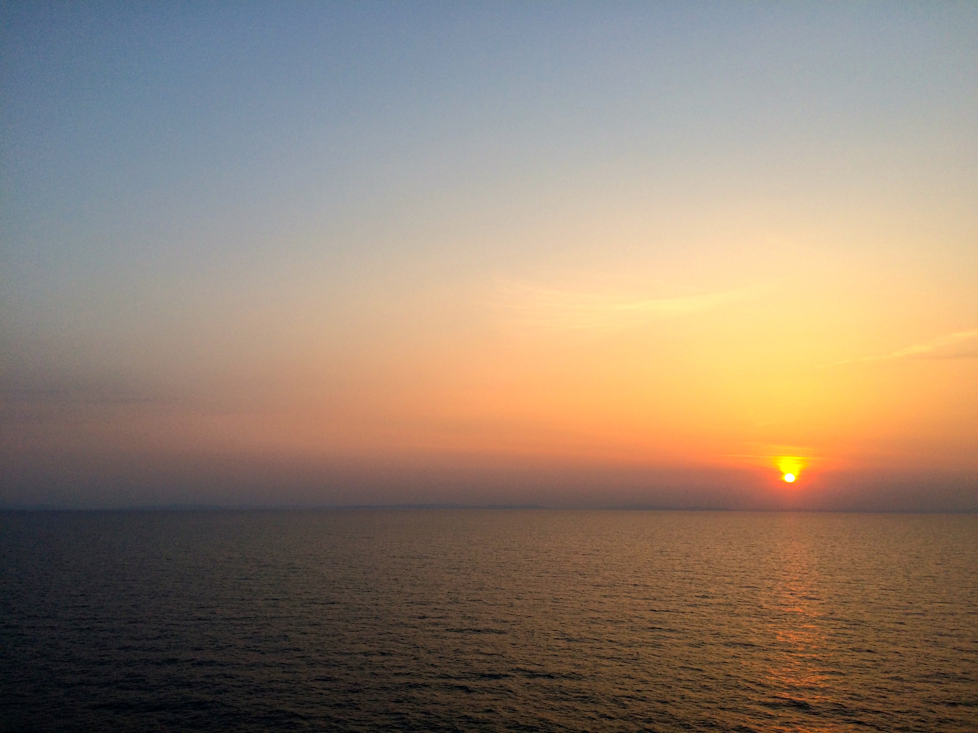 Sunset on the ferry over the Adriatic on our way to Greece.