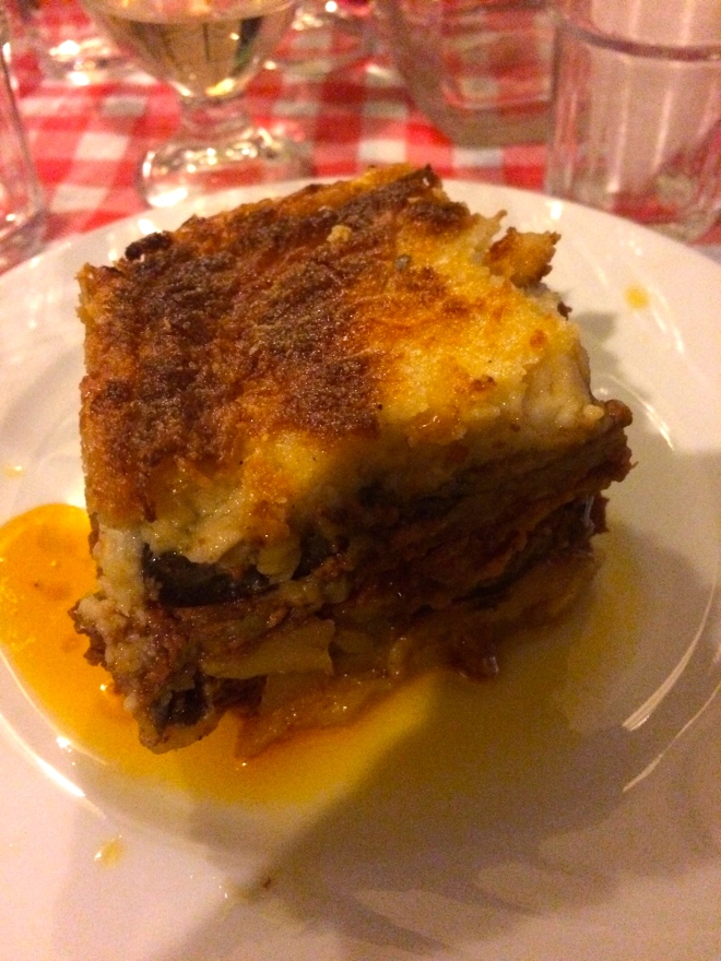 My moussaka at our group dinner.
