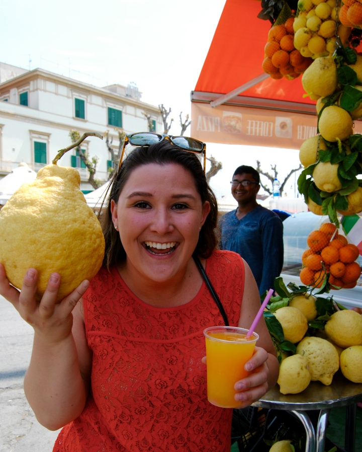 Posing with one of the many giant lemons we saw and my granita of course.