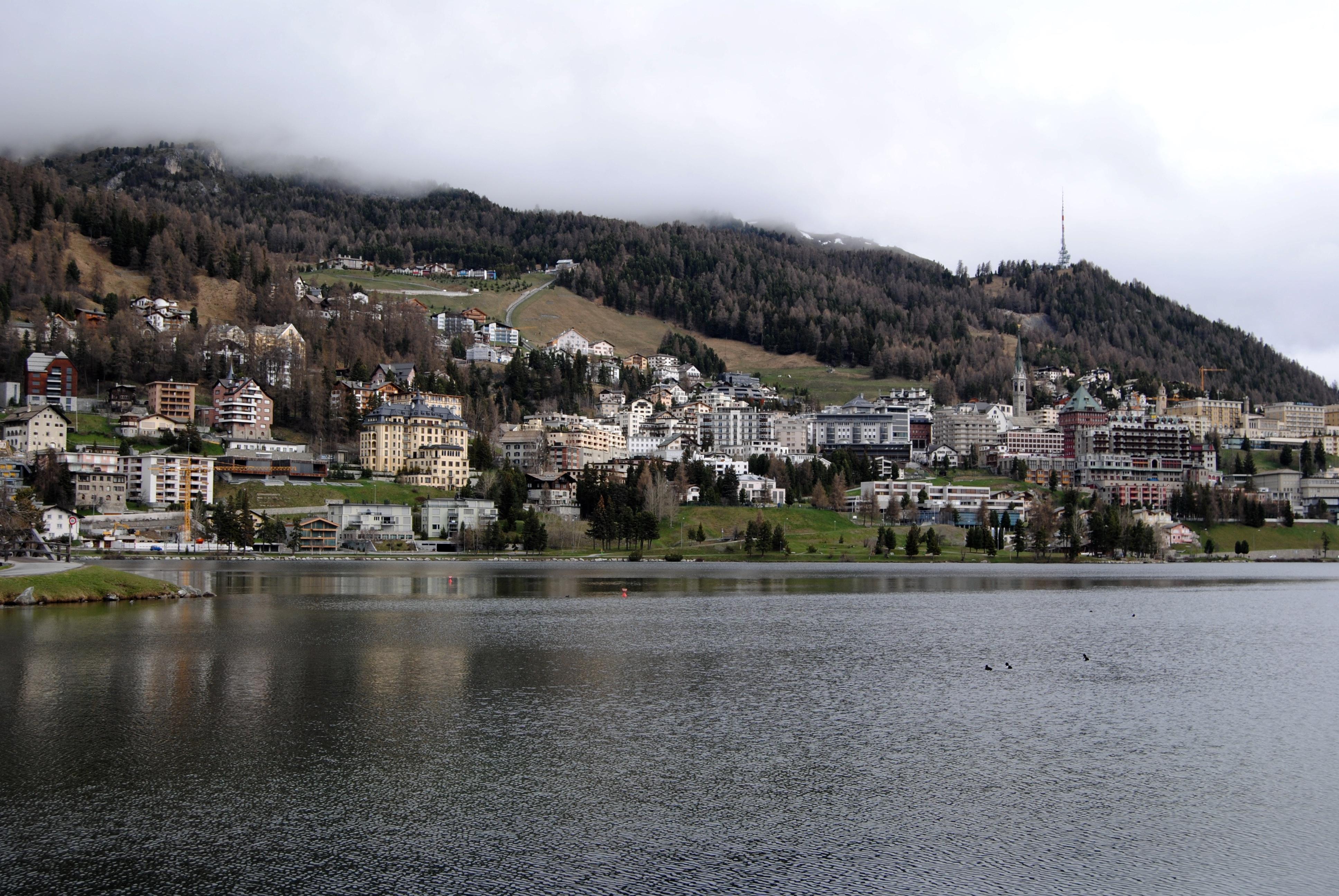 View of St. Moritz Dorf from St. Moritz Bad.