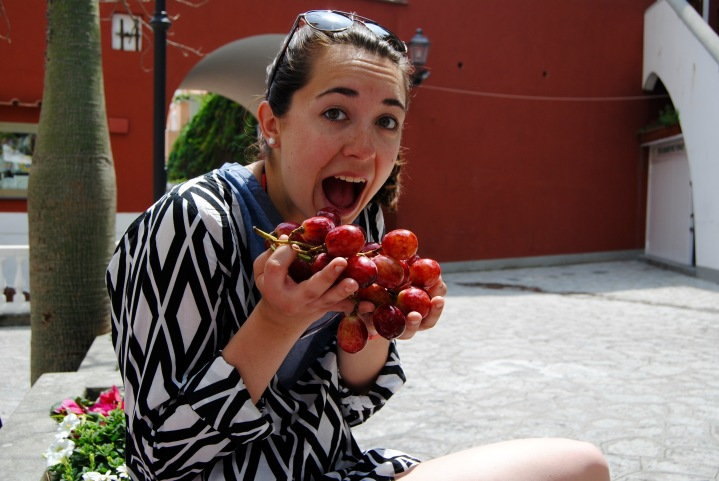 Mel and our lunch aka the biggest grapes we have ever seen.